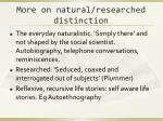 more on natural researched distinction