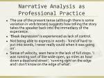 narrative analysis as professional practice