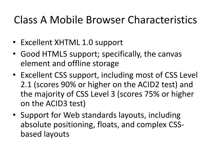 Class A Mobile Browser Characteristics
