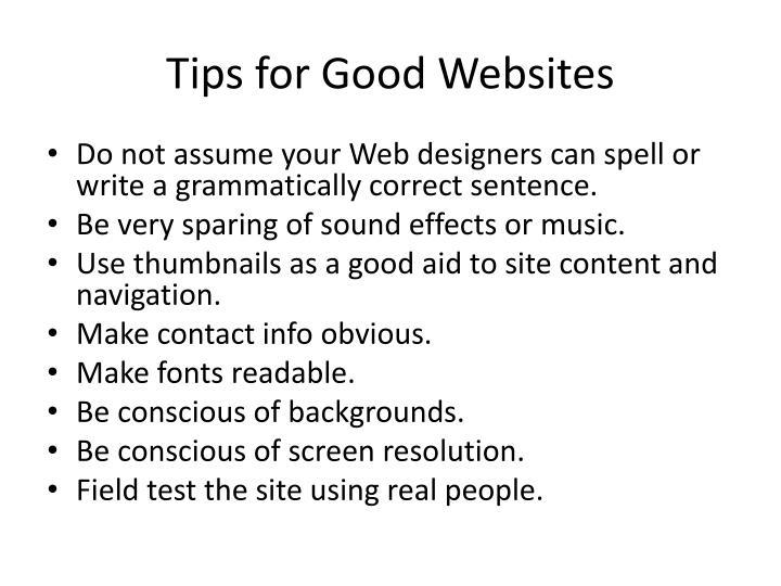 Tips for Good Websites