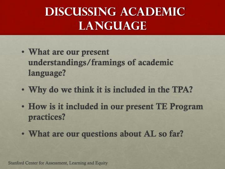 Discussing Academic Language