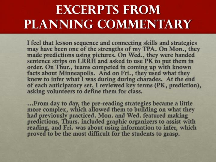 Excerpts From Planning commentary