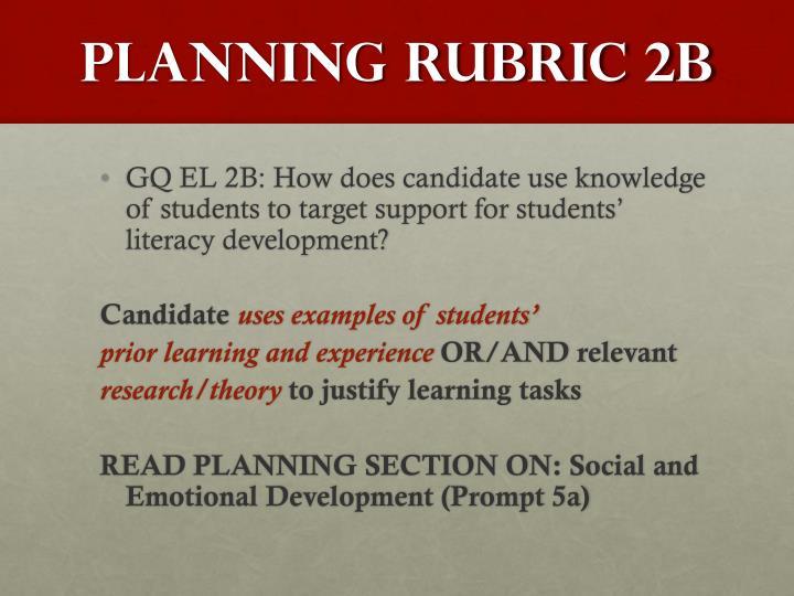 Planning RUBRIC 2B