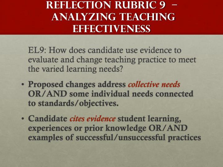 Reflection Rubric 9  –