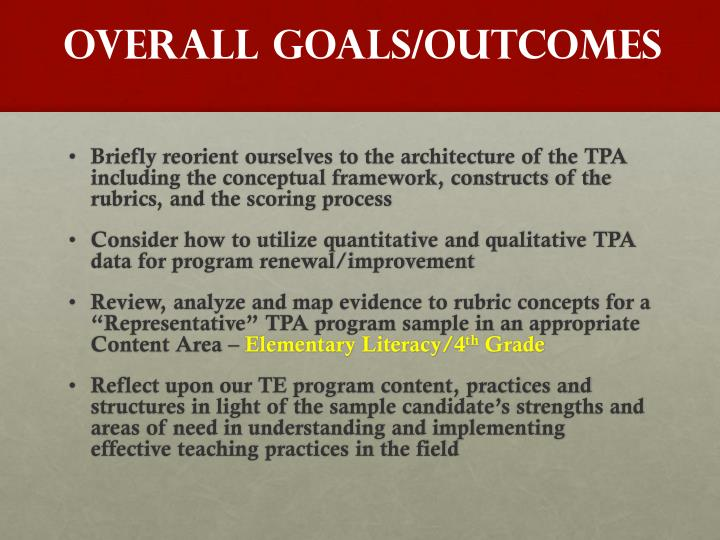 OVERALL Goals/Outcomes