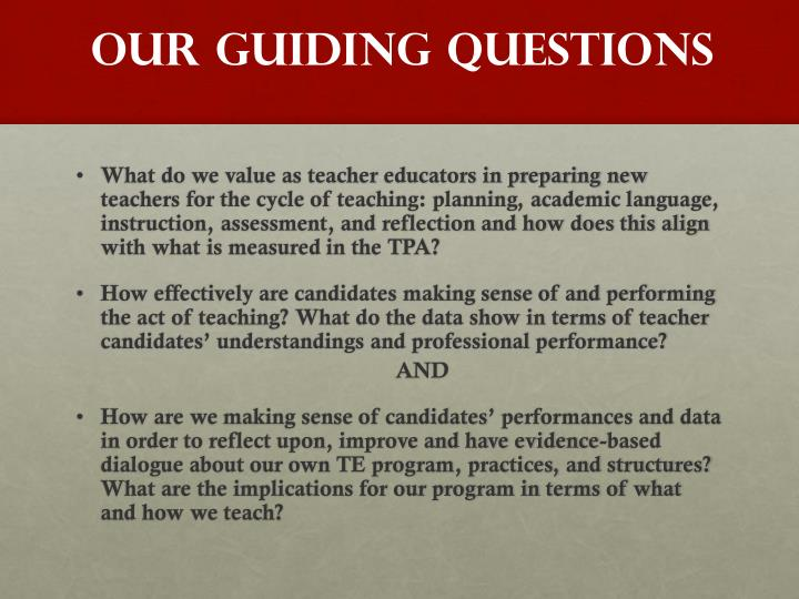 OUR GUIDING QUESTIONS