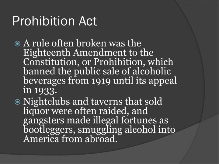 Prohibition Act