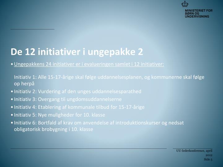 De 12 initiativer i ungepakke 2