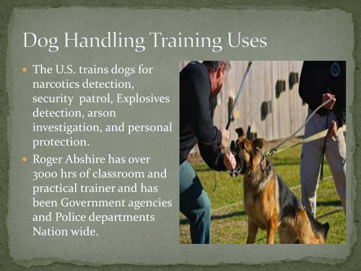 Dog Handling Training Uses