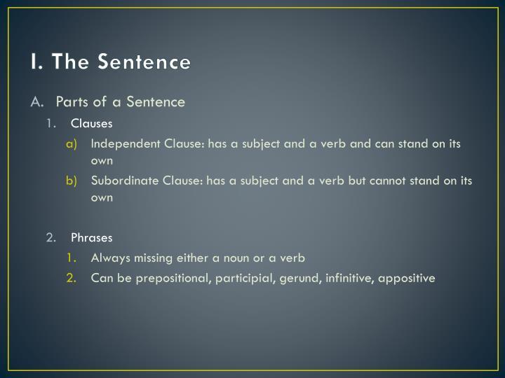 I. The Sentence