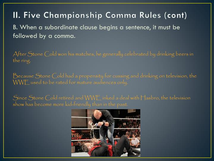 II. Five Championship Comma Rules (