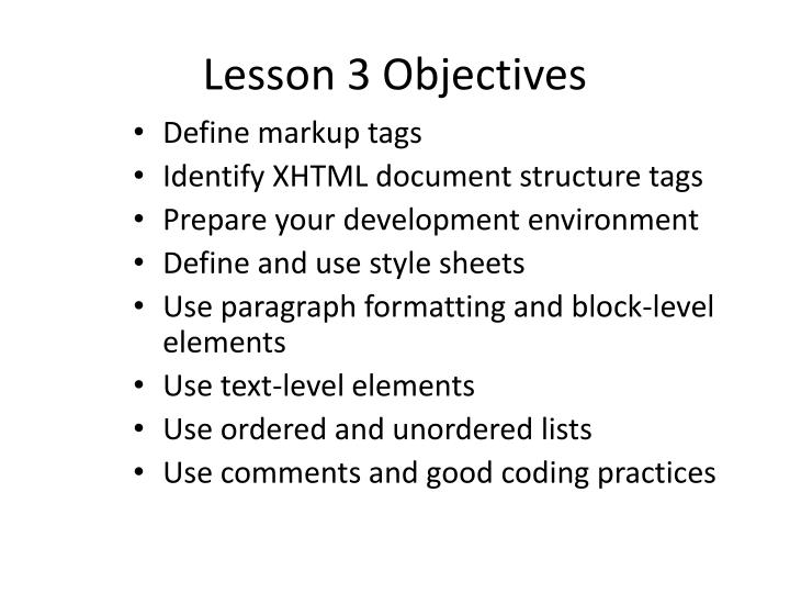 Lesson 3 objectives