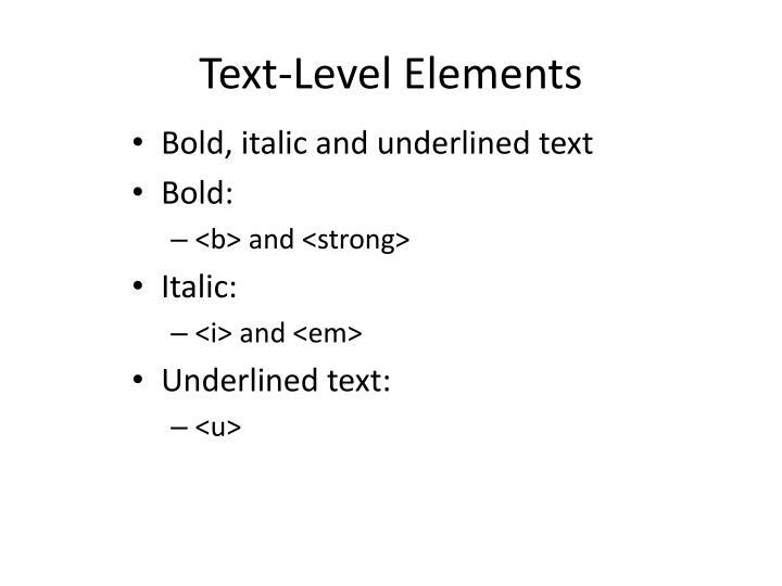 Text-Level Elements