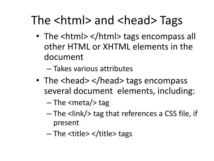 The <html> and <head> Tags