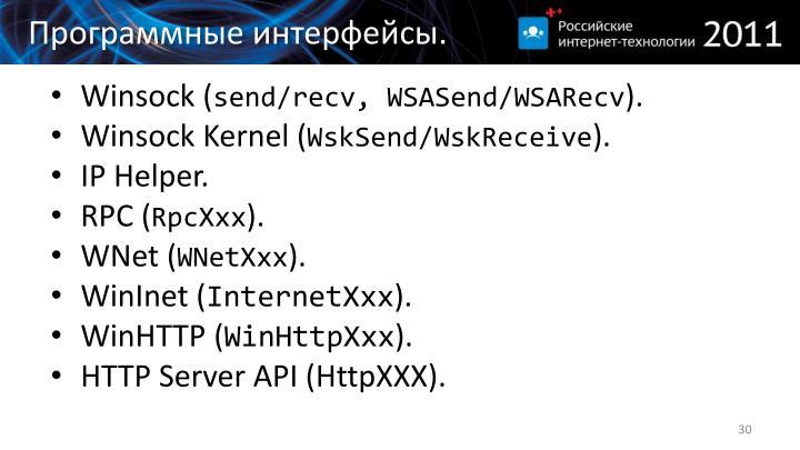 Программные интерфейсы
