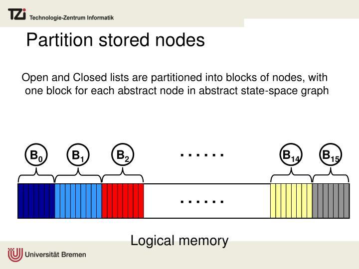 Partition stored nodes