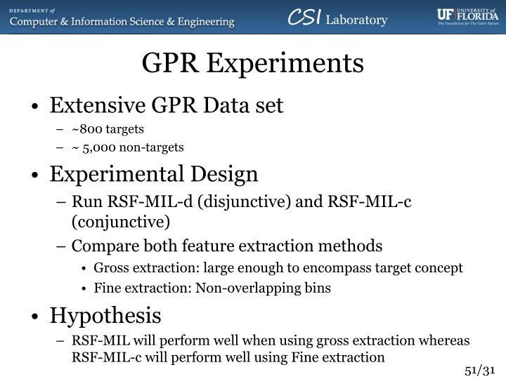 GPR Experiments