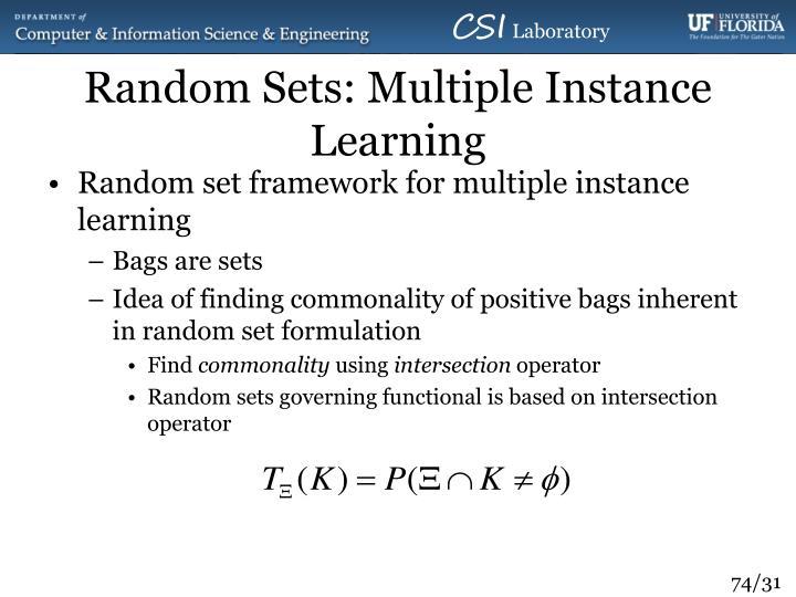 Random Sets: Multiple Instance Learning