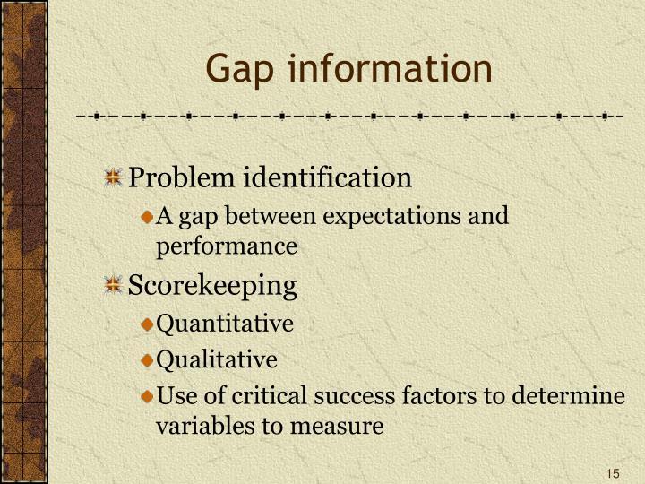 Gap information