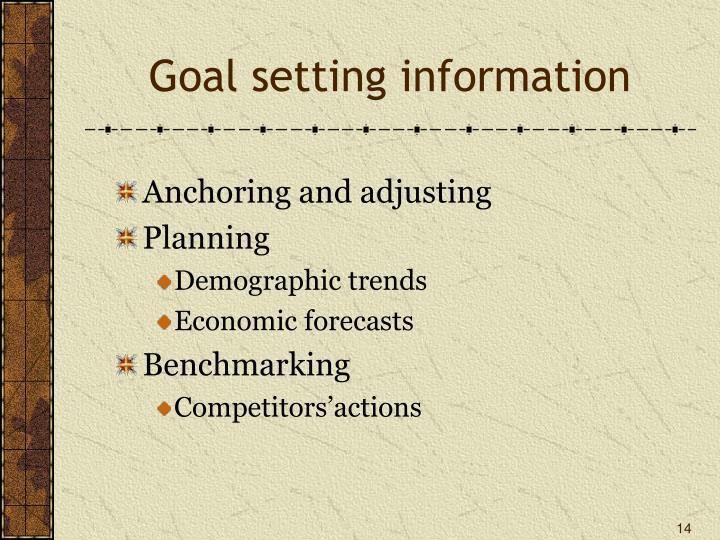 Goal setting information
