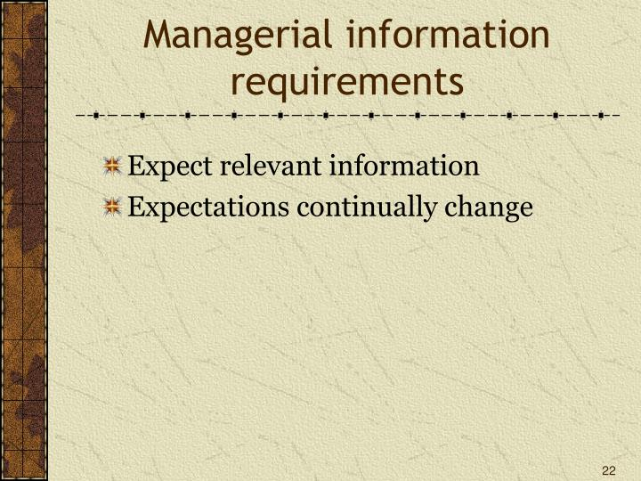Managerial information requirements