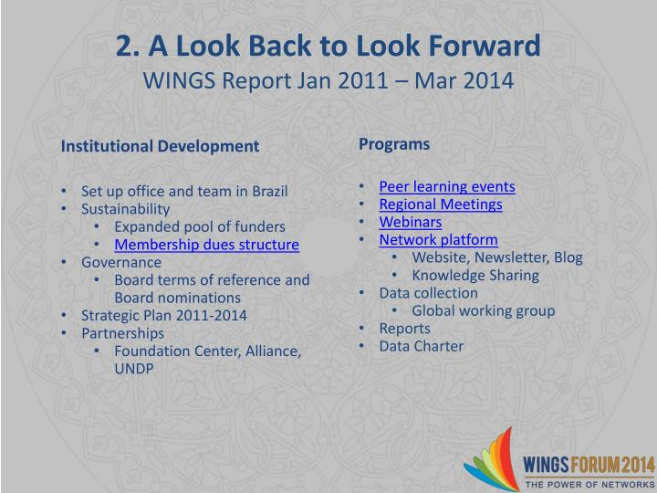 2. A Look Back to Look Forward