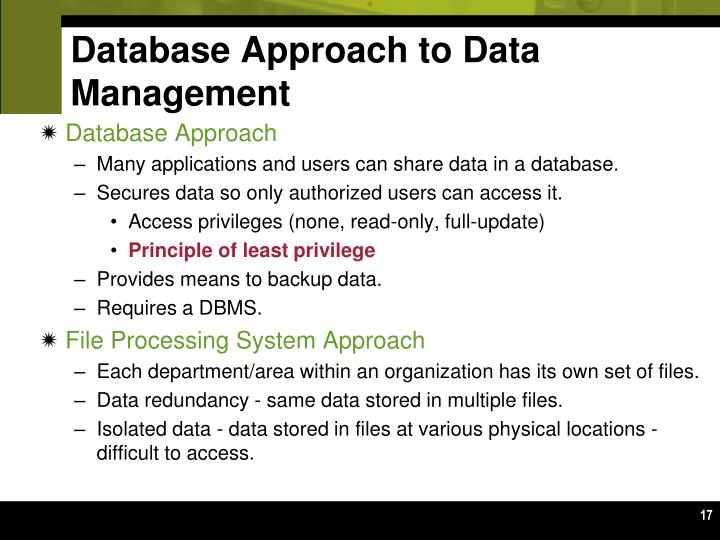 Database Approach to Data Management