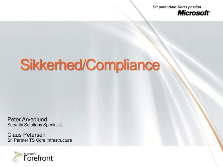 sikkerhed compliance n.