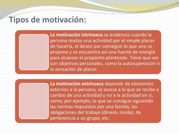 Tipos de motivación: