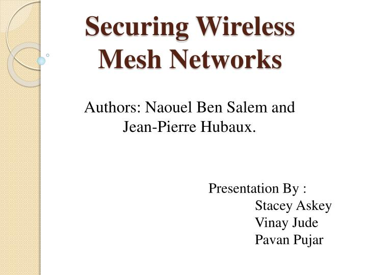 securing wireless mesh networks n.