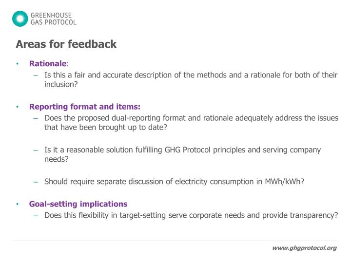Areas for feedback