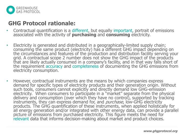 GHG Protocol rationale: