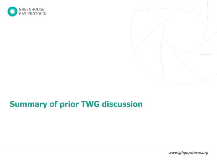 Summary of prior twg discussion