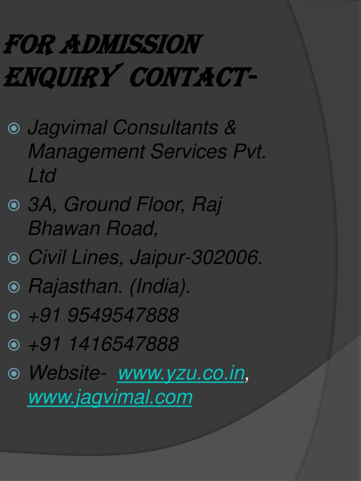 For admission enquiry contact