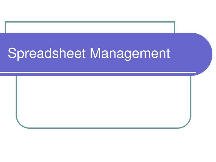 spreadsheet management n.