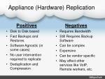 appliance hardware replication