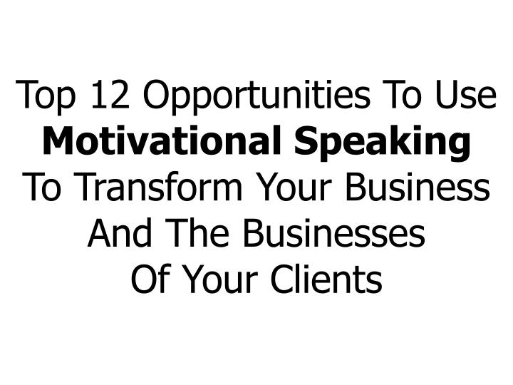 Top 12 Opportunities To Use