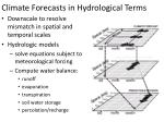 climate forecasts in hydrological terms