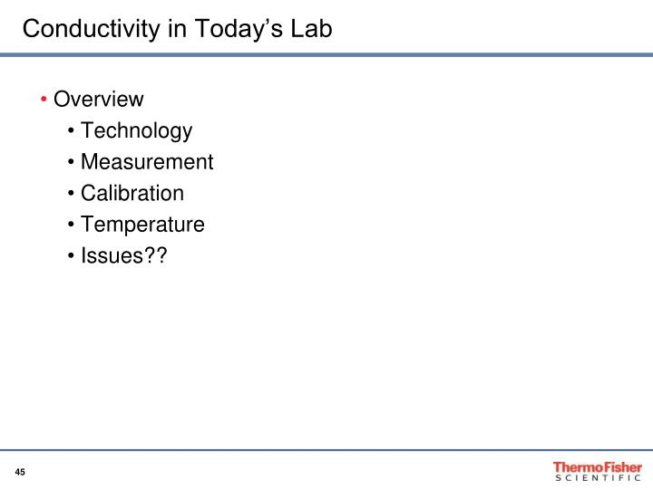 Conductivity in Today's Lab