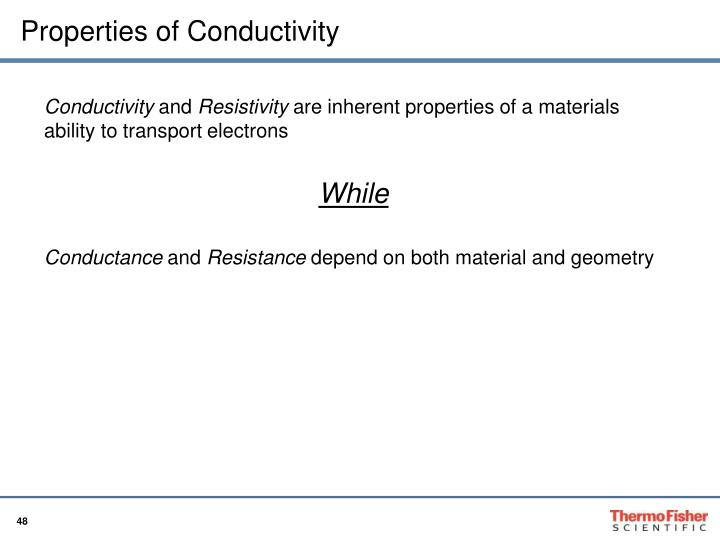 Properties of Conductivity