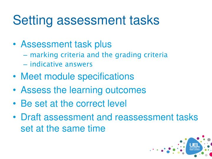 Setting assessment tasks