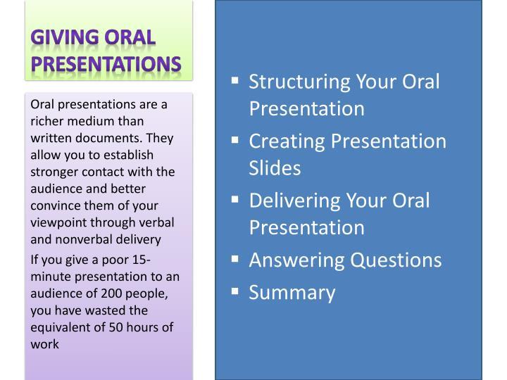 Giving oral presentations1