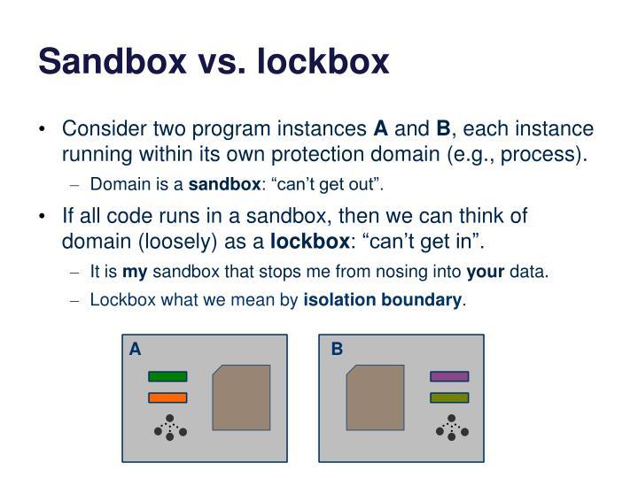 Sandbox vs. lockbox