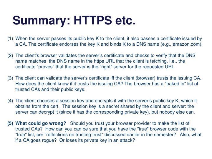 Summary: HTTPS etc.