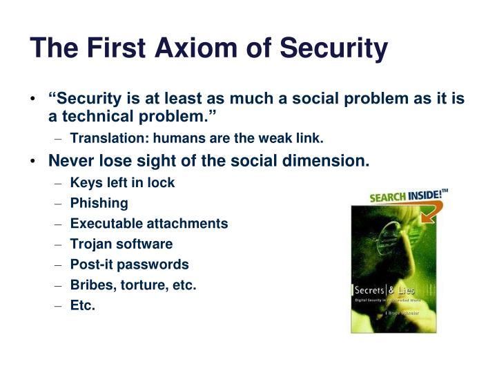 The First Axiom of Security