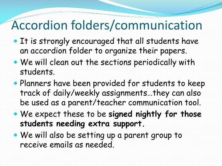Accordion folders/communication