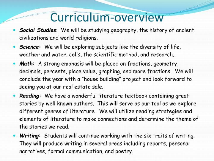 Curriculum-overview