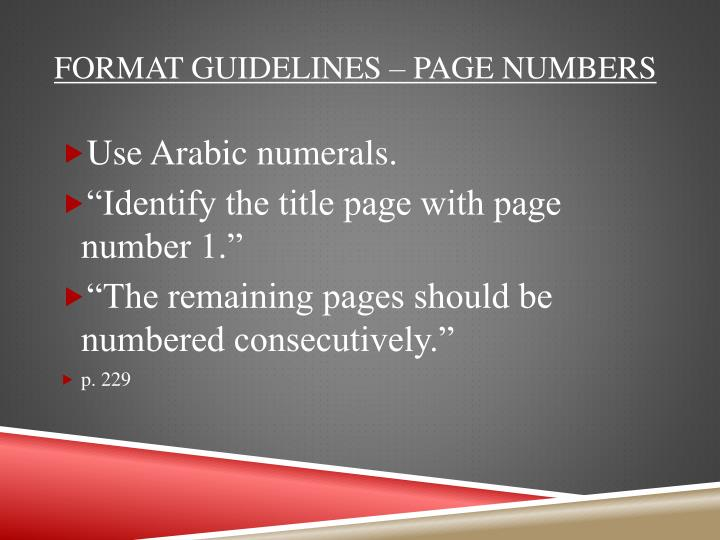 Format guidelines – page numbers