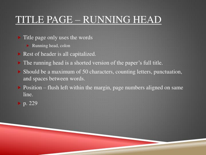 Title page – Running head