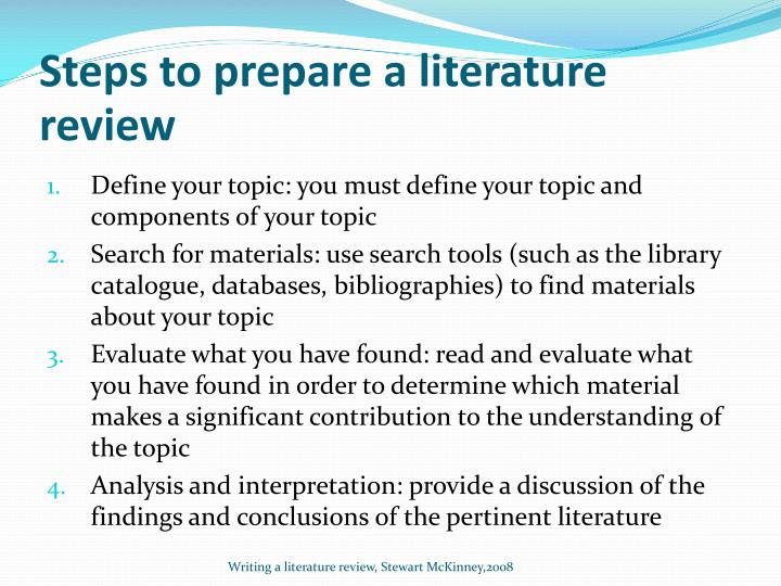Steps to prepare a literature